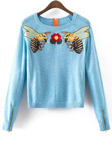Honey Bee Embroidered Sweater - Light Blue M