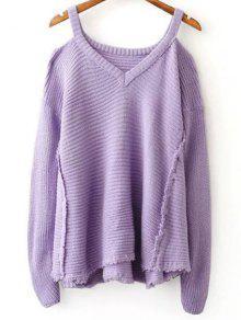 Distressed Cold Shoulder Sweater - Light Purple