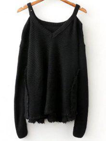 Distressed Cold Shoulder Sweater - Black