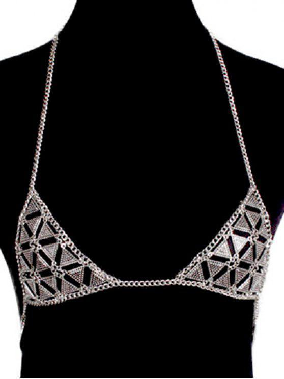 fashion Bra Triangle Body Chain - SILVER