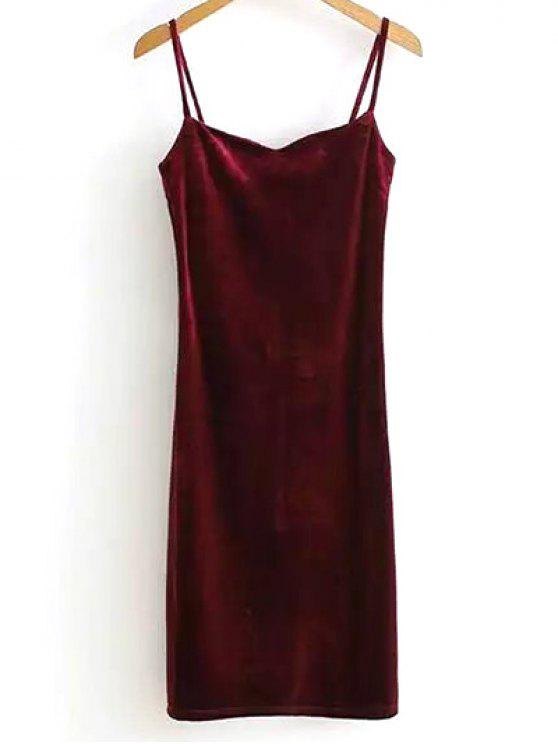 unique Solid Color Spaghetti Straps Velvet Dress - WINE RED ONE SIZE