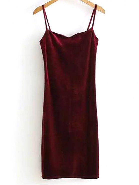 Solid Color cintas de espaguete vestido de veludo - Vinho vermelho Tamanho único