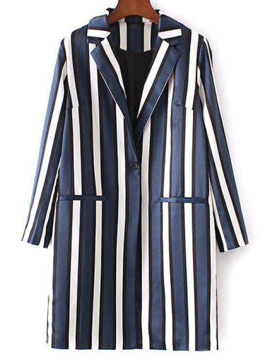 online Striped Lapel Collar Long Sleeve Coat - BLUE AND WHITE S