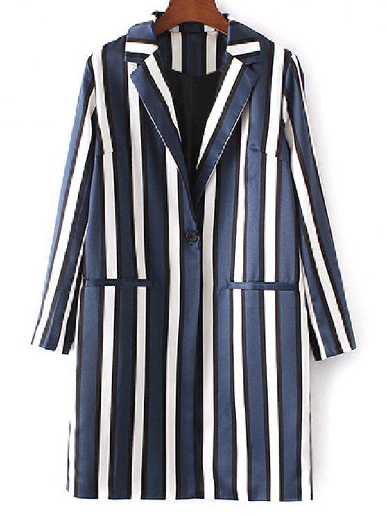 Rayas de cuello solapa Escudo de manga larga - Azul y Blanco S