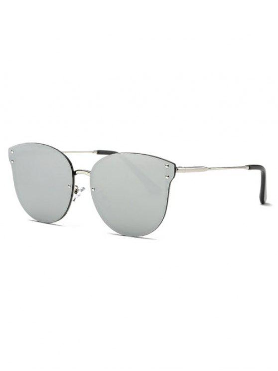 Frameless Cat Eye Mirrored Sunglasses - Silver