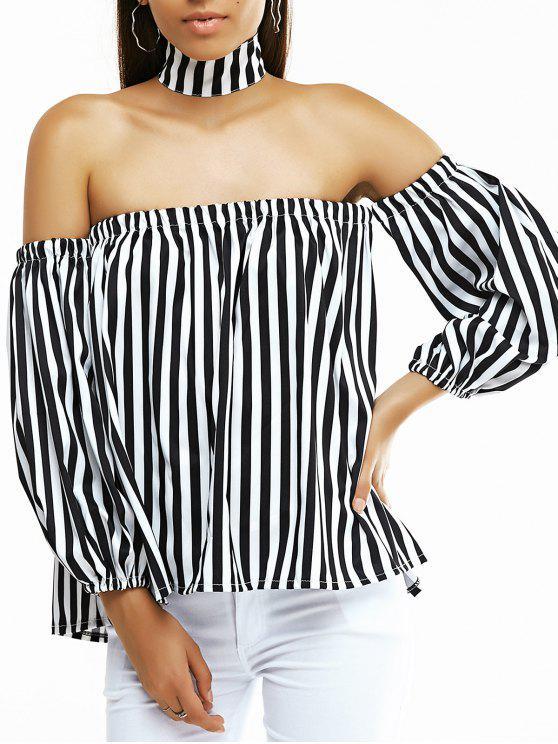 Fuera del hombro de la manga de la linterna de rayas blusa suelta - Blanco y Negro M