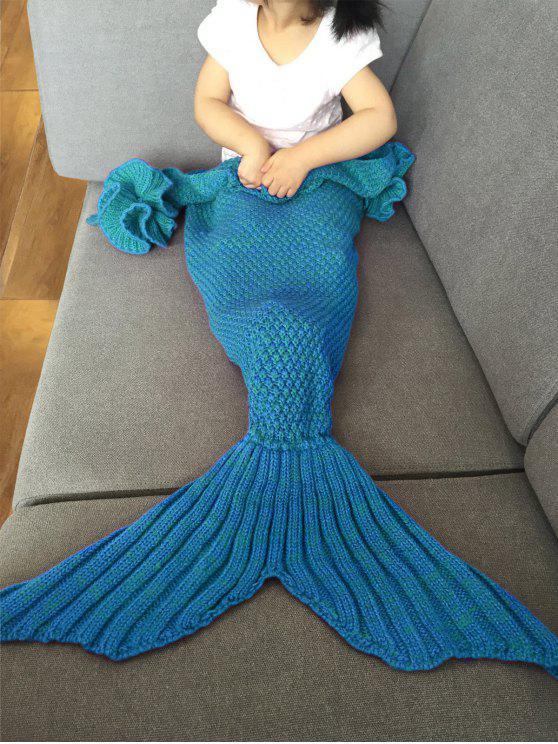 بطانية ميرميد عصري محبوك للأطفال - أزرق