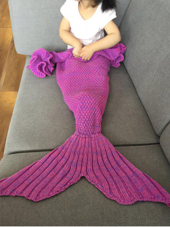 بطانية ميرميد عصري محبوك للأطفال - وردة حمراء