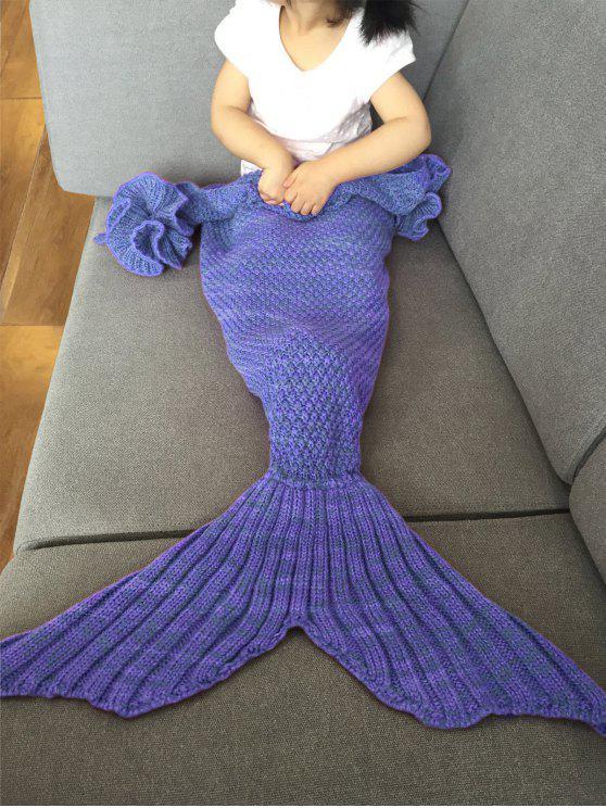 بطانية ميرميد عصري محبوك للأطفال - مزرق اللون البنفسجي