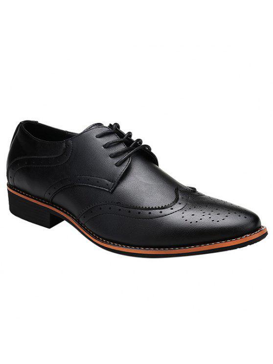 أنيق التعادل حتى و الجناحية تصميم أحذية رسمية للرجال - أسود 43