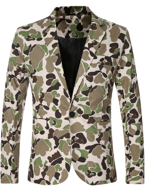 best Casual Notched Lapel Collar Single Button Opening Camo Bomber Blazer For Men - GREEN M