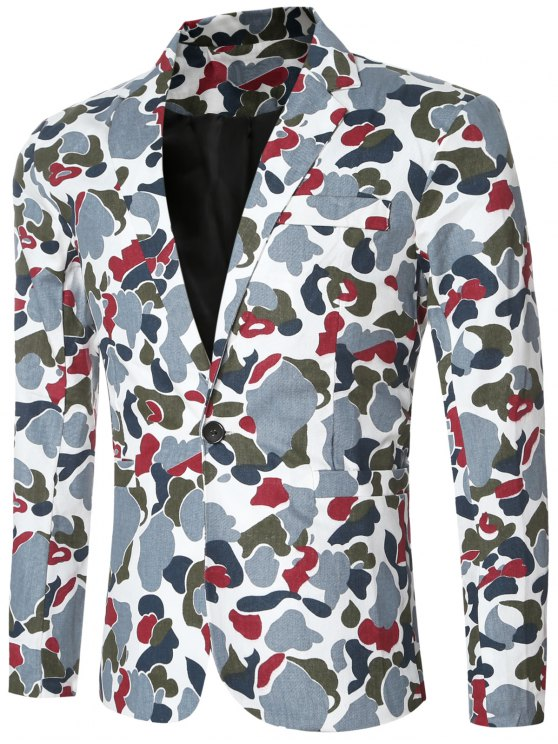 hot Casual Notched Lapel Collar Single Button Opening Camo Bomber Blazer For Men - BLUE XL