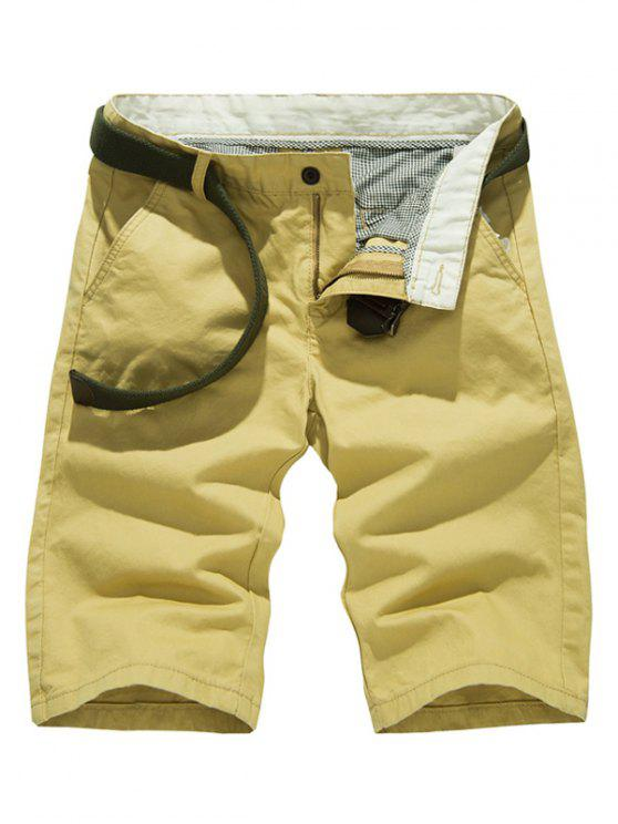 Cor sólida Slim Fit Shorts casual para homens - Caqui 36