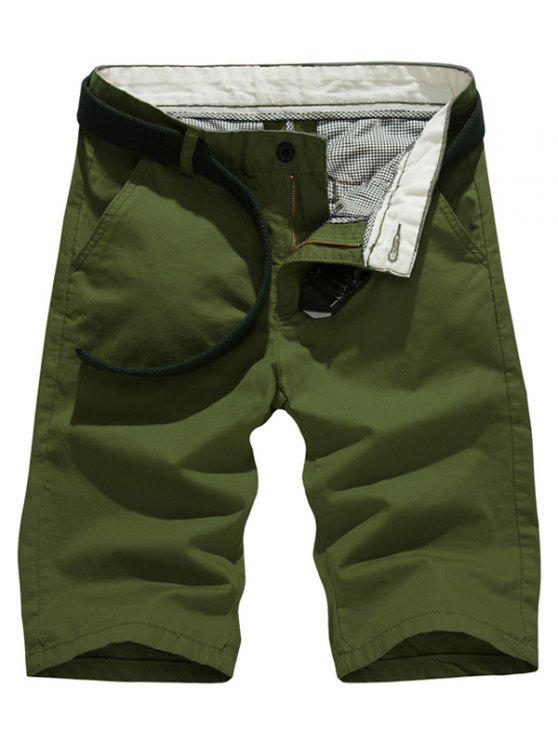 fashion Solid Color Slim Fit Casual Shorts For Men - ARMY GREEN 38