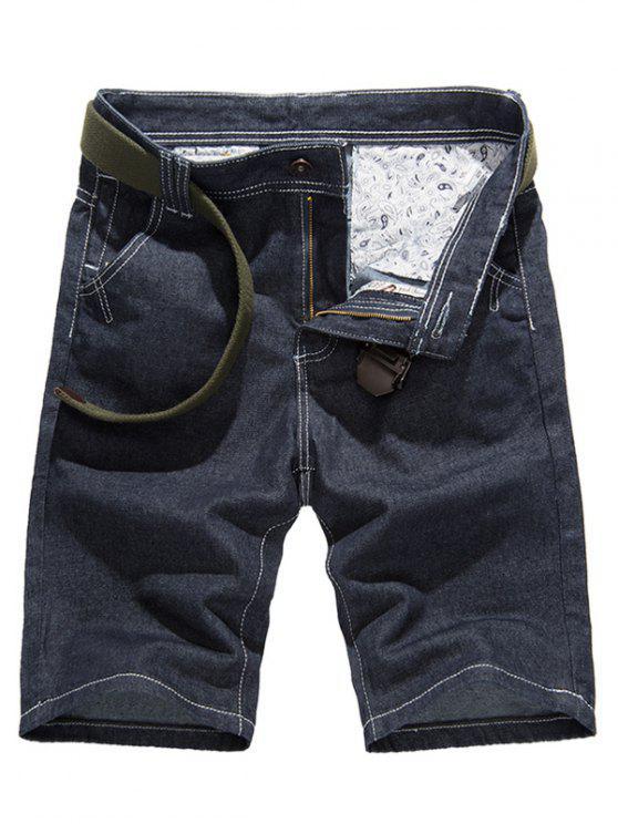 Diseño de costura clásica puros pantalones cortos de mezclilla de color para los hombres - Denim Blue 33