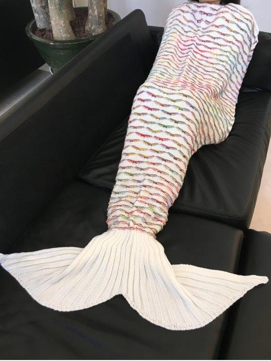 شيك الجودة سارعت نمط الدفء محبوك حورية البحر الذيل تصميم بطانية - أبيض