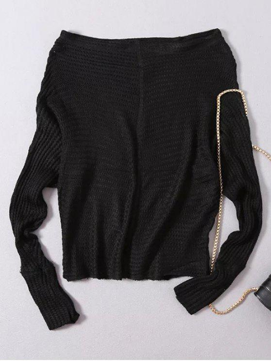 lady Loose Fitting Slash Neck Batwing Sleeve Sweater - BLACK ONE SIZE