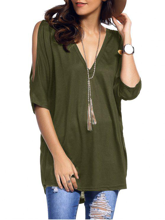 Cold Shoulder Batwing T-Shirt - Army Green L