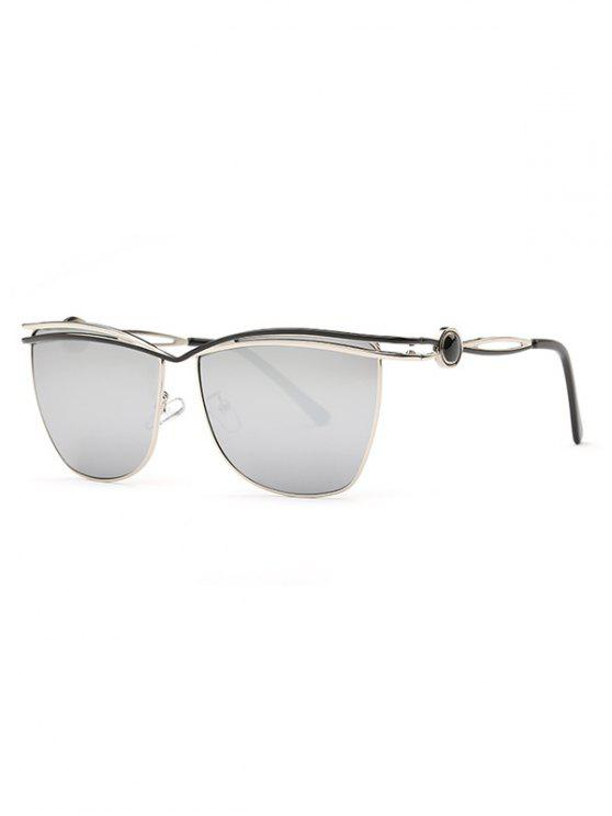 fashion Crossbar Mirrored Sunglasses - SILVER