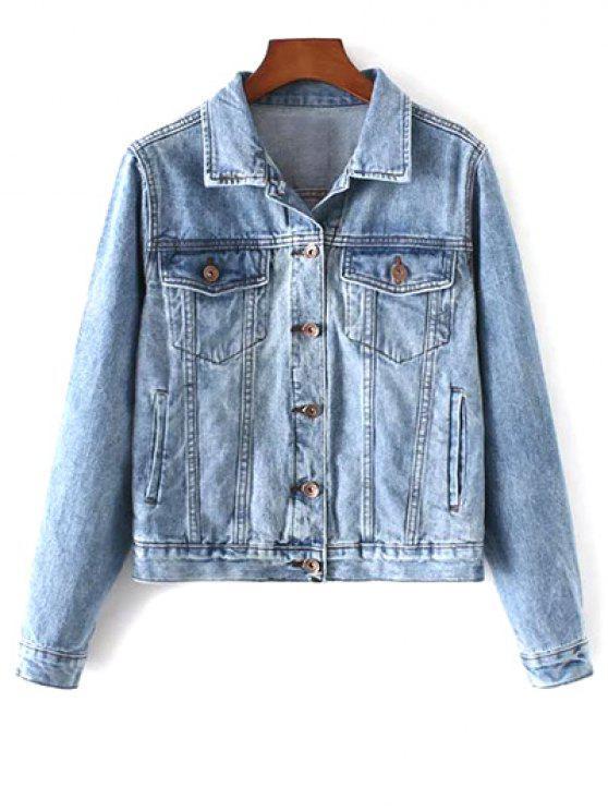 buy Pockets Shirt Neck Denim Jacket - DENIM BLUE M