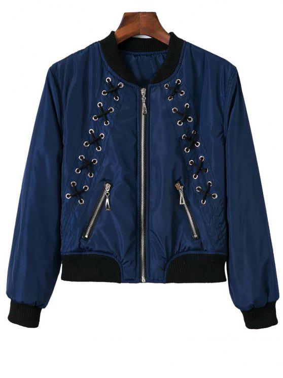 ladies Stand Neck Lace Up Zipper Jacket - BLUE S