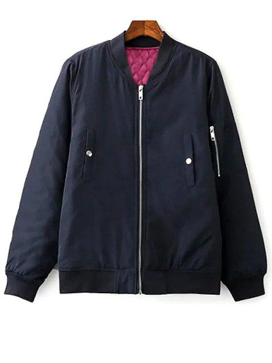 Floral brodé à col montant Zipper Jacket - Bleu Violet M