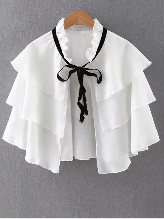 affordable Layered Ruffles Solid Color Cape - WHITE M