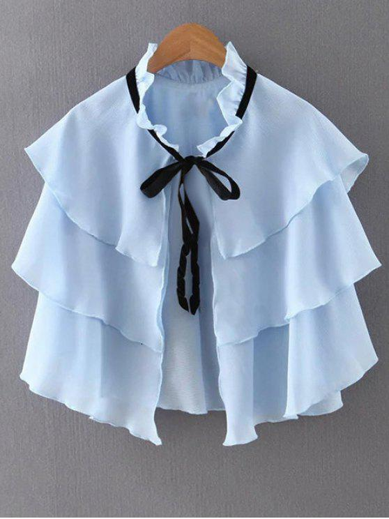 women Layered Ruffles Solid Color Cape - BLUE M
