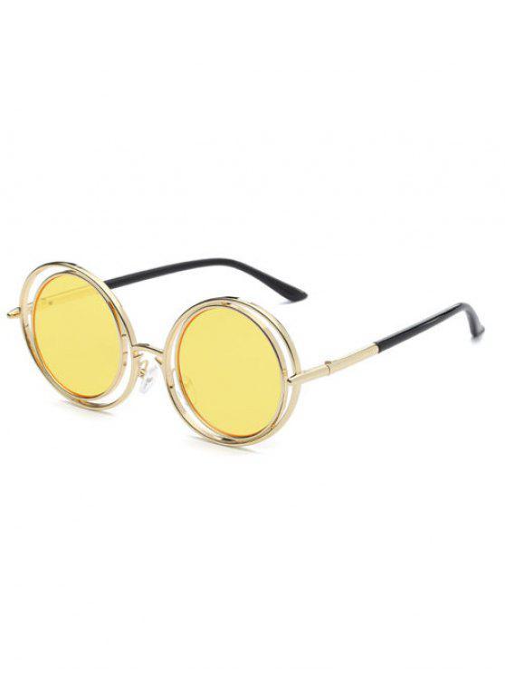 Marco de alambre Gafas de sol redondas - Amarillo