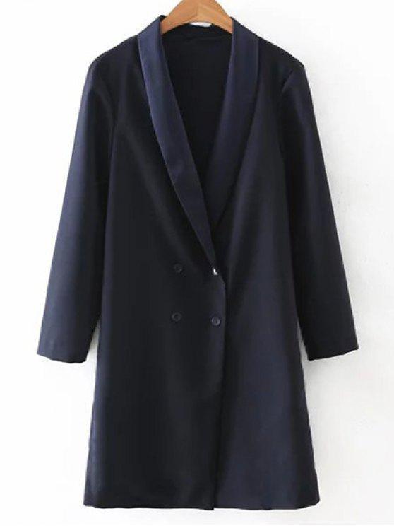 shops Turn-Down Collar Double-Breasted Coat - PURPLISH BLUE M
