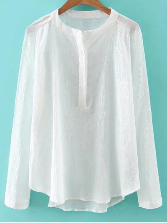 1d0a0b3dd10680 30% OFF] 2019 Long Sleeve Stand Neck Crinkle Sheer Blouse In WHITE ...