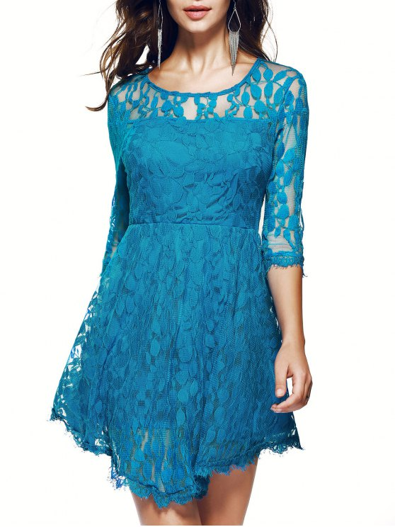 trendy Sheer Sleeve Lace Skater Dress - BLUE S