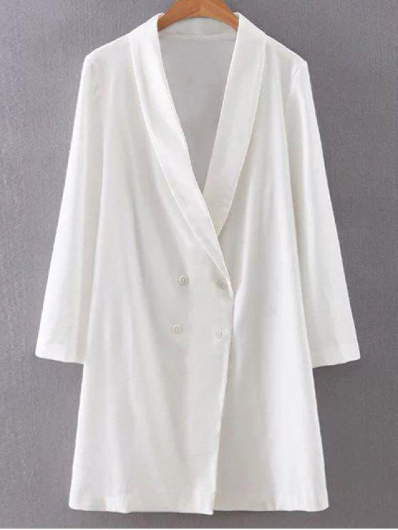 chic Solid Color Turn-Down Collar Double-Breasted Coat - WHITE S