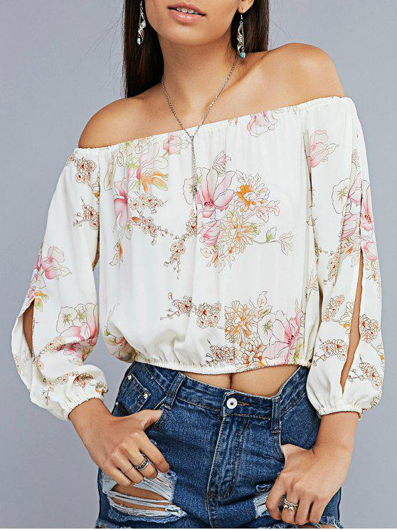 women's Floral Print Off The Shoulder Split Sleeve Cropped Blouse - OFF-WHITE XL