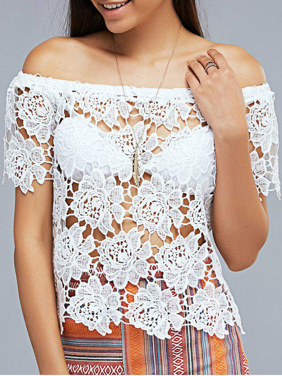 hot Openwork Lace Hook Off The Shoulder T-Shirt - WHITE XS