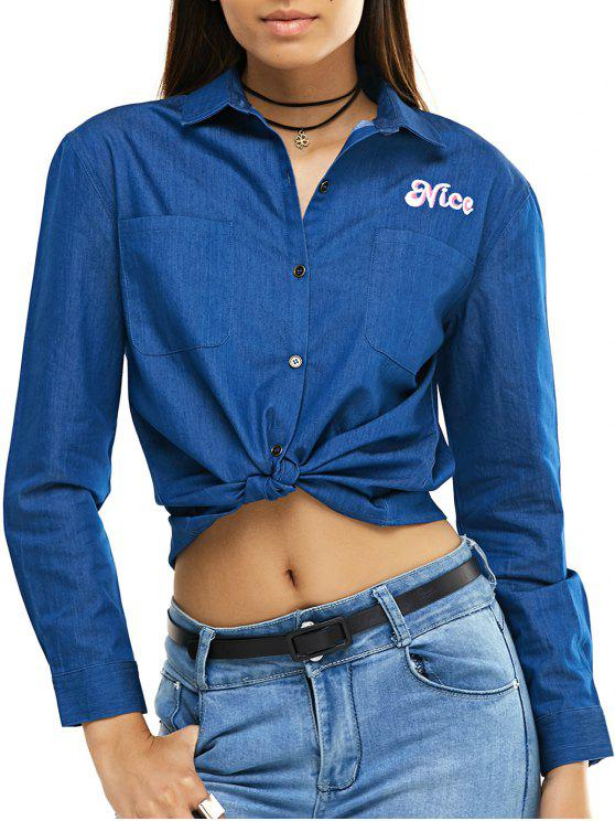 buy Coconut Embroidery Long Sleeve Denim Shirt - BLUE S
