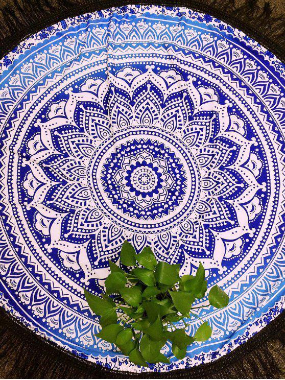 Azul y blanco de las borlas de la toalla de playa - Azul y Blanco Un tamaño(Montar tam