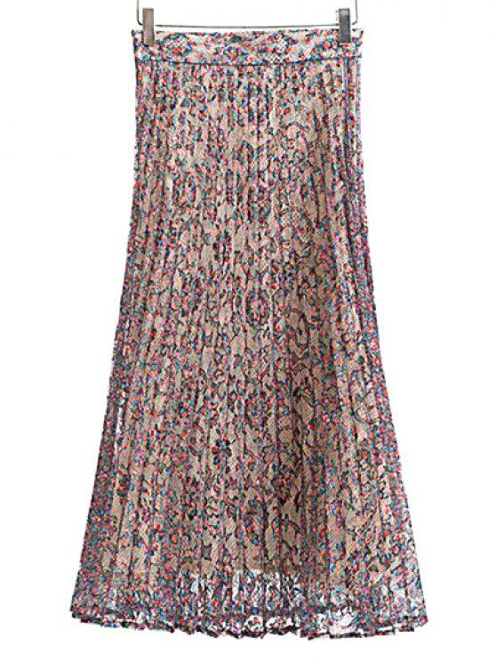 hot Pleated Printed Lace Midi Skirt - COLORMIX M