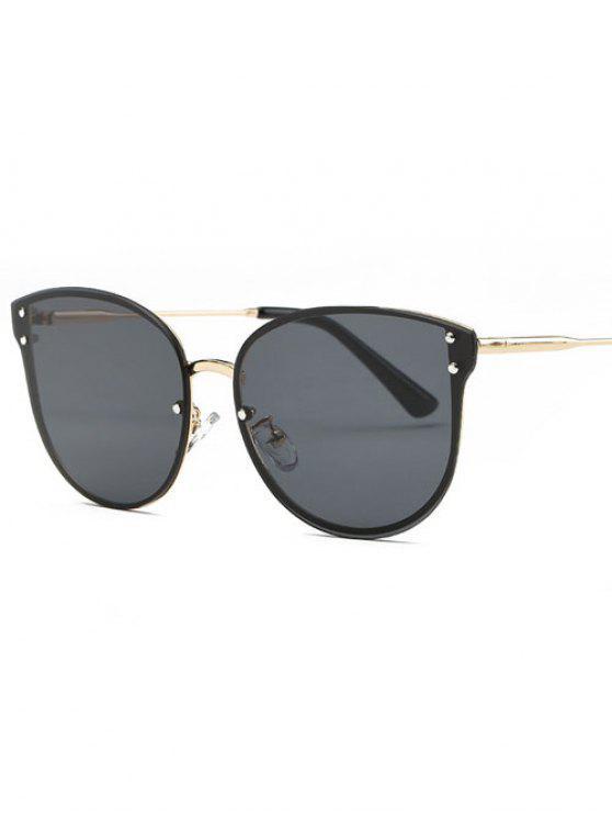 women Frameless Oversized Sunglasses - BLACK GREY