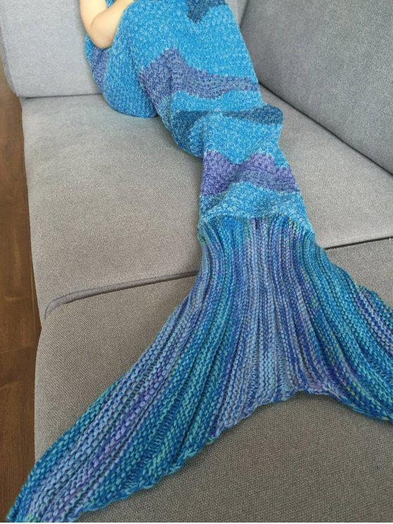 outfit Stripe Knitted Mermaid Tail Blanket - BLUE + PURPLE