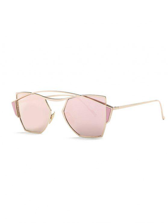 Gafas de sol de espejo travesaño irregular - Rosa de Oro