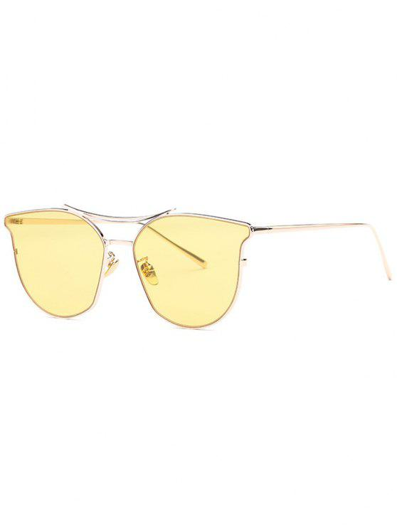 outfits Full Frame Pilot Sunglasses - YELLOW