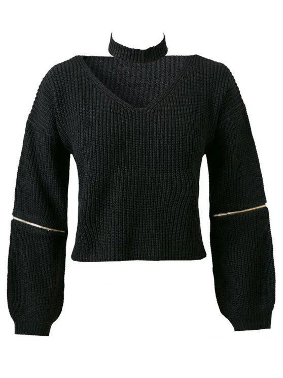 Pure Color Scollo a V a maniche lunghe Zipper Jumper - Nero Una Taglia