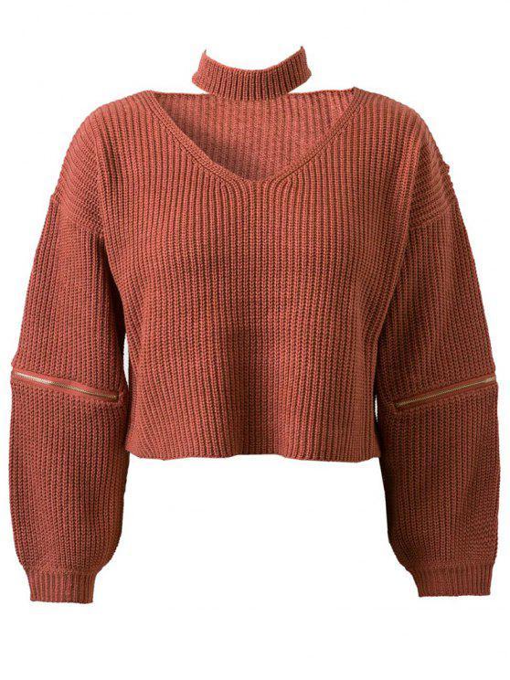 Pull  élégant Pure couleur col V à manches longues à zip Pour femmes - Tangerine TAILLE MOYENNE