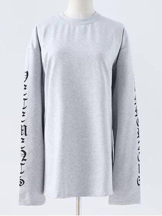 shops Letter Round Neck Loose Sweatshirt - GRAY M