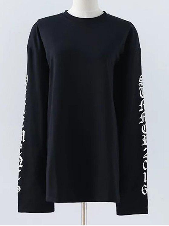 Carta de cuello redondo de la camiseta floja - Negro S