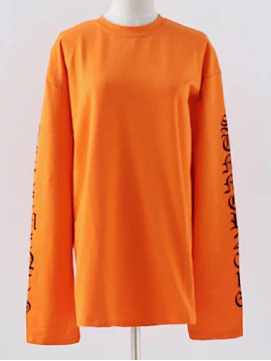 Lettre col rond en vrac Sweatshirt - Douce Orange M