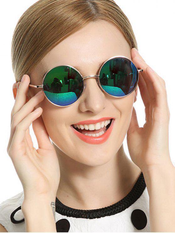buy Vintage Mirrored Round Sunglasses - BLUE