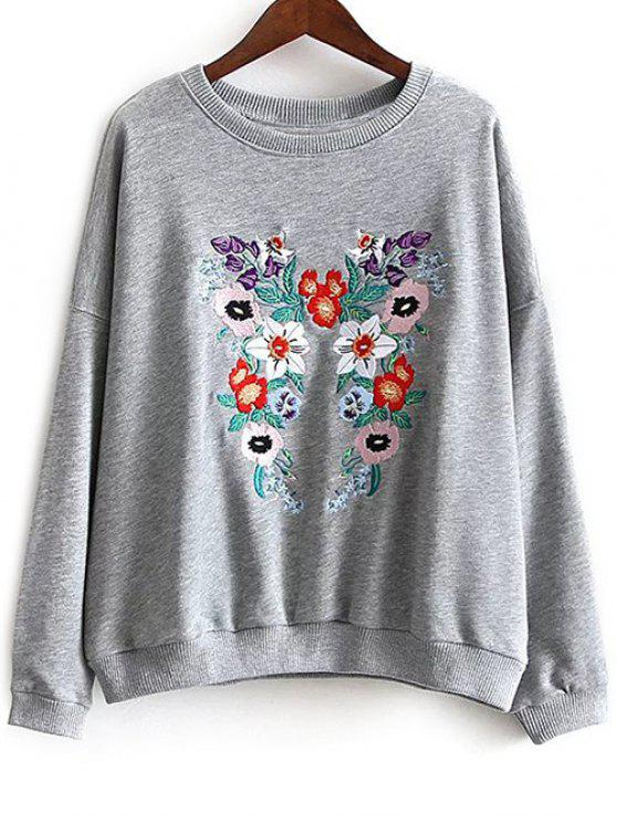 trendy Round Neck Floral Embroidered Sweatshirt - GRAY L