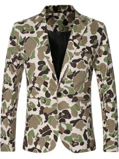 Casual Notched Lapel Collar Single Button Opening Camo Bomber Blazer For Men - Green M